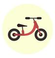 flat red kids balance bike icon vector image