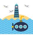 nautical lighthouse ocean and submarine beach vector image