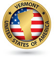 Vermont state gold label with state map vector image