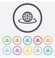 Globe sign icon Round the world arrow symbol vector image