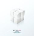 3D Cube White Color vector image