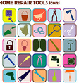 Set of colored icons with home repair tools vector image