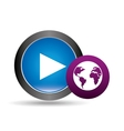 button video player global connection design vector image