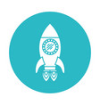 Circle light blue with space rocket with two vector image