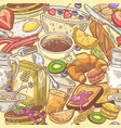 hand drawn breakfast seamless pattern with milk vector image