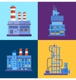 Industrial factory buildings icons set in flat vector image
