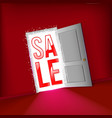 open door for start sale concept vector image