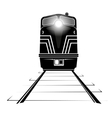 silhouette of a diesel locomotive moving along the vector image