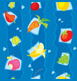 vegetarian vegetables and fruits seamless pattern vector image