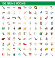 100 guns icons set cartoon style vector image