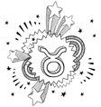 doodle pop astrology taurus vector image vector image