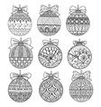 nine christmas balls vector image