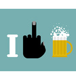 I hate alcohol Fuck and beer mug Logo for vector image