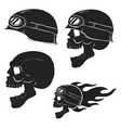 skull in rider helmet with fire vector image
