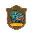 Largemouth Bass on shield vector image