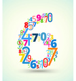 Number 6 colored font from numbers vector image
