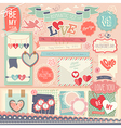 Valentines Day scrapbook set vector image vector image