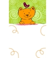 Greeting card with red cat and place for text vector image