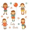 Cute little girls vector image vector image