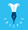 logo nib and books for college vector image