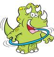 Cartoon dinosaur playing with a hoop vector image