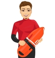 male lifeguard holding a rescue can vector image