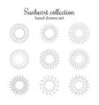 Sunburst collection Retro rays frames vector image