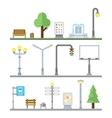 Urban landscape icons Traffic lights lanterns vector image