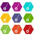 banjo icon set color hexahedron vector image