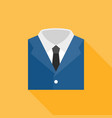 blue suit with white shirt and neck tie icon vector image