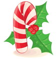 christmas candy and a branch of mistletoe on white vector image