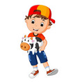 little boy holding cow bank vector image