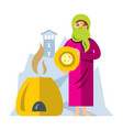 muslim arab woman baking bread flat style vector image