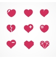 set of love signs 9 Hearts icons vector image