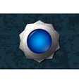 Shiny blue star button vector image