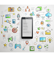 Smart Phone infographics -handdrawn style vector image