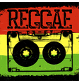 Audiocassette and Reggae lettering reggae design vector image