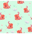 Seamless pattern with funny red girl fishes vector image