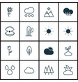 set of 16 nature icons includes sunny weather vector image