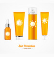 sun protection cosmetic cream template set vector image vector image