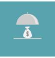 Silver platter cloche and money bag Flat design vector image