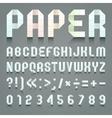Alphabet folded of toilet blue paper vector image