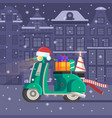 christmas scooter deliver gifts vector image