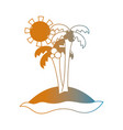 line summer beach and tropical paradise vector image