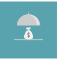 Silver platter cloche and money bag Flat design vector image