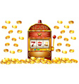 Slot machine with lots of gold coins vector image
