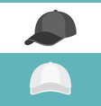 white cap in front view and black cap in side view vector image