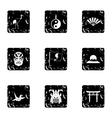 Japan icons set grunge style vector image