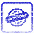 with love stamp seal framed textured icon vector image