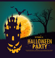happy halloween background with haunted house vector image